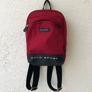 POLO SPORT rare Vintage Mini Backpack Red